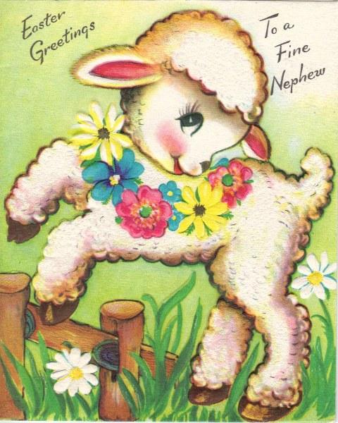 Vintage Easter Lamb Card Image