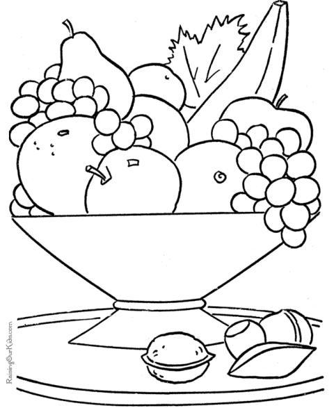 Cos cu fructe planse de colorat planse de colorat for Food color pages