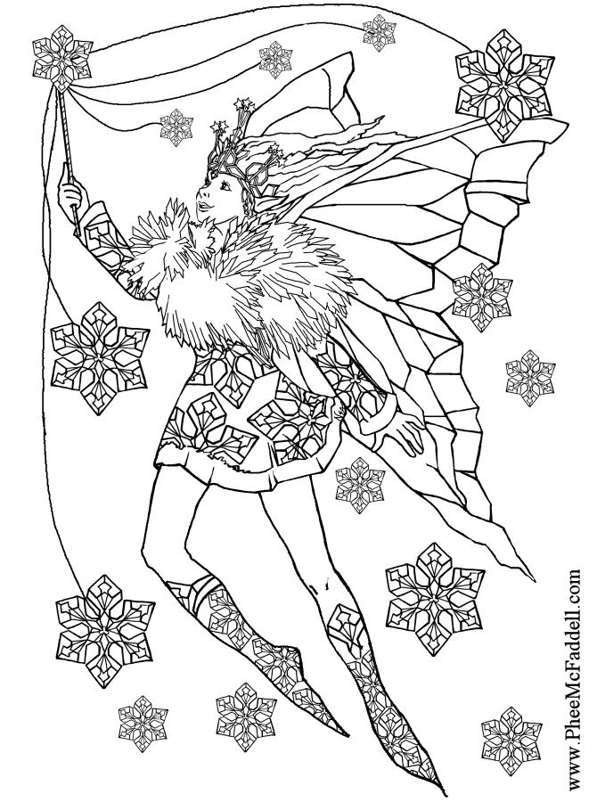 Fulgi de zapada planse de colorat planse de colorat for Christmas fairy coloring pages