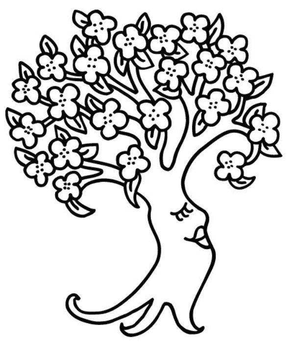 Copaci Infloriti Primavara   Planse De Colorat