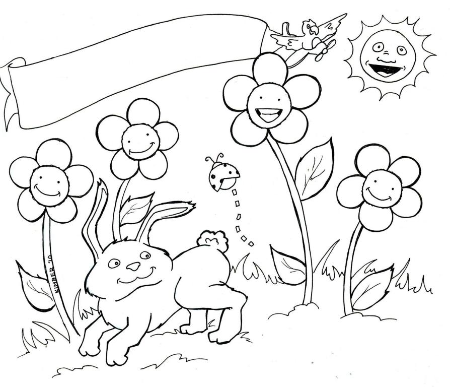 April Coloring Pages For Adults : Peisaje primavara planse de colorat